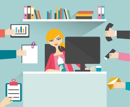 Dessin représentant une secrétaire qui est mulit-tâches (téléphone, gestion des emails, gestion du courrier etc.)